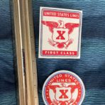 United States Lines: SSUS First class X Baggage Stickers