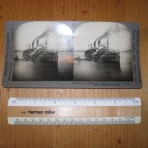 Unites States Lines: USS Leviathan troopship Stereoview card